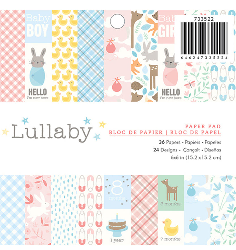 Pebbles Lullaby Baby 6 x 6 Paper Pad 36pcs