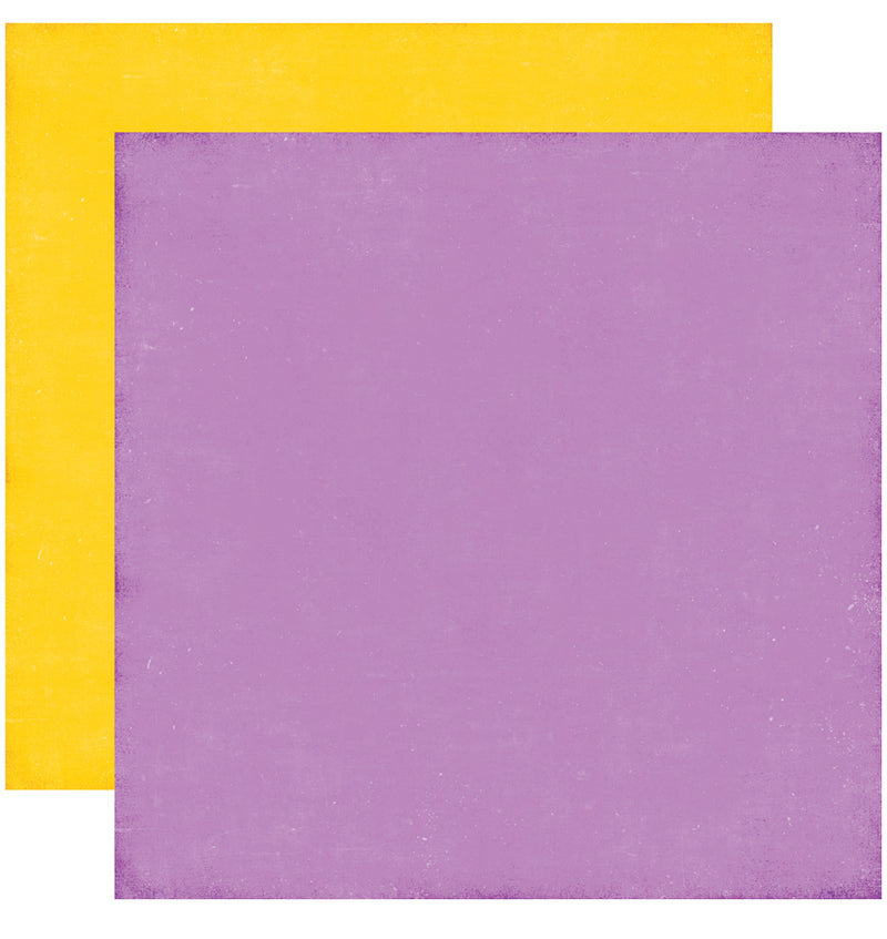 Echo Park Perfect Princess Solid Kit, 12x12 Purple Yellow Cardstock Paper