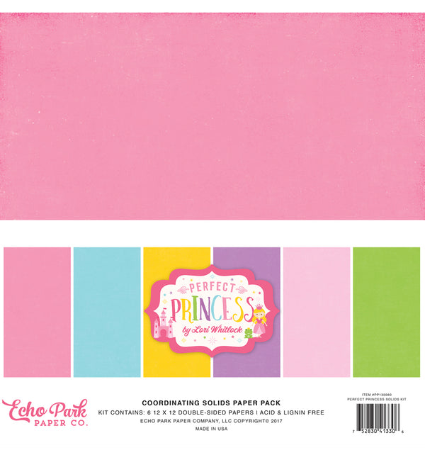 Echo Park Perfect Princess Solid Kit, 12x12 Cardstock Paper