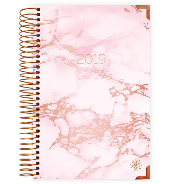 Bloom Daily Planner Pink Marble 2019 Hard Cover Daily Planner