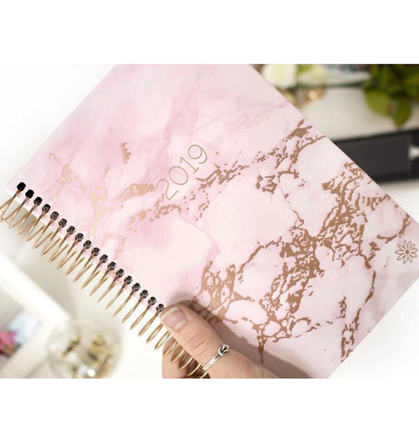 Pink Marble 2019 Hard Cover Daily Planner