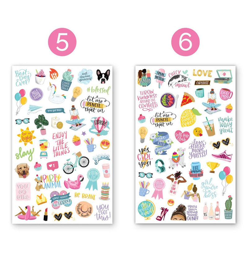 Productivty V2 Planner Sticker Sheets 6pcs, Design Fifth and Six Sheets