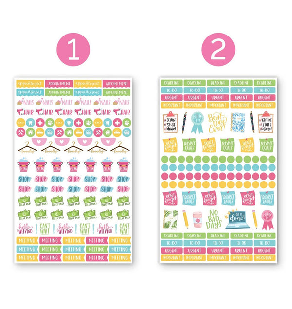 Productivty V2 Planner Sticker Sheets 6pcs, Design One and Two Sheets