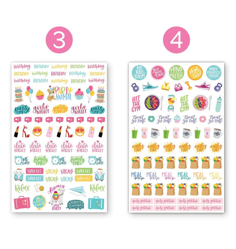 Productivty V2 Planner Sticker Sheets 6pcs, Design Third and Fourth Sheets