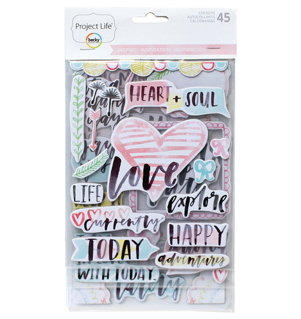 Project Life Inspire Chipboard Stickers 45pcs