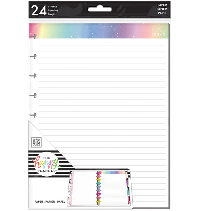 Rainbow Foil Note Lined Paper (Classic Happy Planner) 24pcs