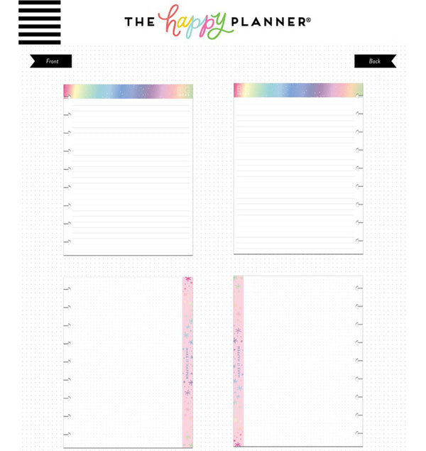 Rainbow Foil Note Lined Paper (Classic Happy Planner) Page Layout Designs