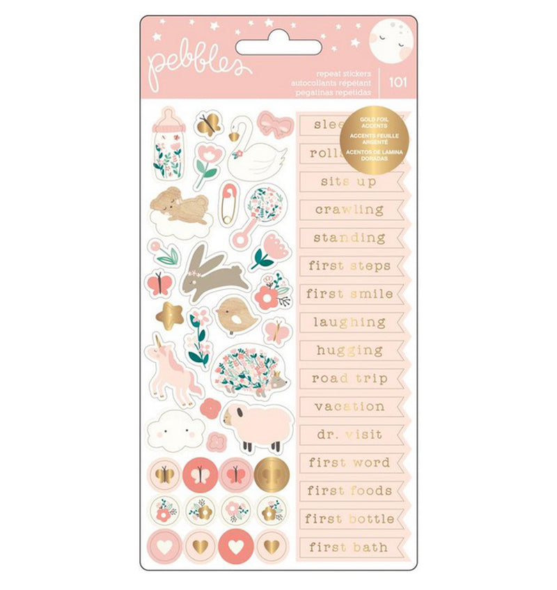 Repeat Baby Girl Stickers with Foil Accents