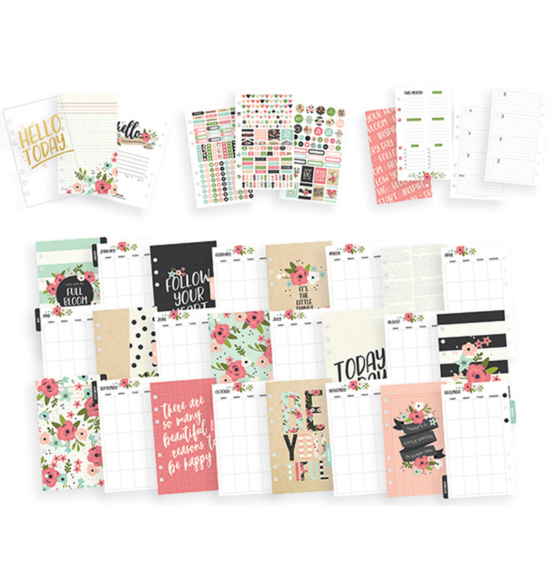 Simple Stories Black Blossom Personal Planner Boxed Set Undated Stickers and Inserts