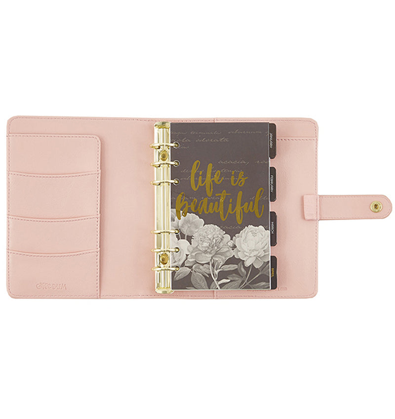 Simple Stories Blush Personal Planner Inner Compartment with Side Pocket Sleeve and Gold Ring Binder