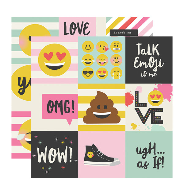 "Simple Stories Emoji Love 4"" x 4"" Elements 12"" x 12"" Double Sided Patterned Paper"