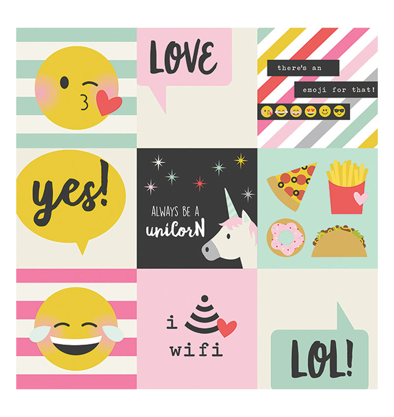 "Simple Stories Emoji Love 4"" x 4"" Elements 12"" x 12"" Double Sided Patterned Paper Back"