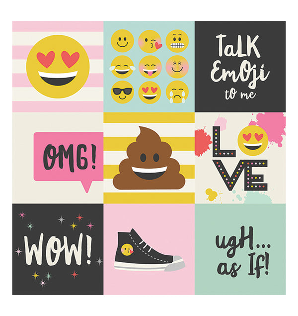 "Simple Stories Emoji Love 4"" x 4"" Elements 12"" x 12"" Double Sided Patterned Paper Front"