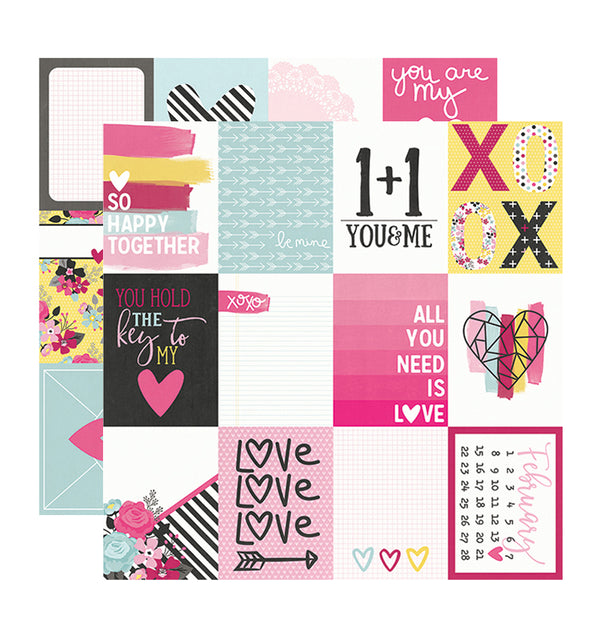 Simple Stories Love & Adore Journaling Card Elements 12 x 12 Double Sided Paper