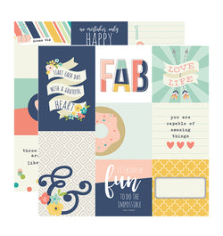 Simple Stories Posh 4x4, 4x6 Vertical Journaling Card Elements 12x12 Double Sided Patterned Paper