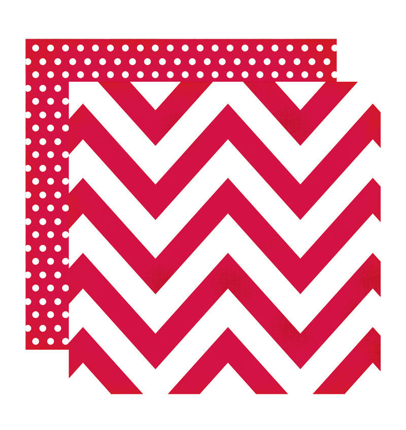 Simple Stories Red Chevron Dot 12 x 12 Double Sided Patterned Paper
