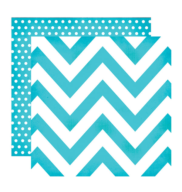 Simple Stories Teal Chevron Dot 12 x 12 Double-Sided Patterned Paper