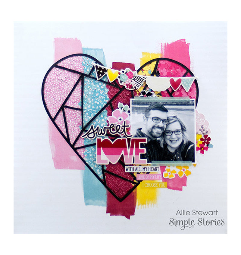 Simple Stories With All My Heart 12 x 12 Double Sided Patterned Paper Completed Design