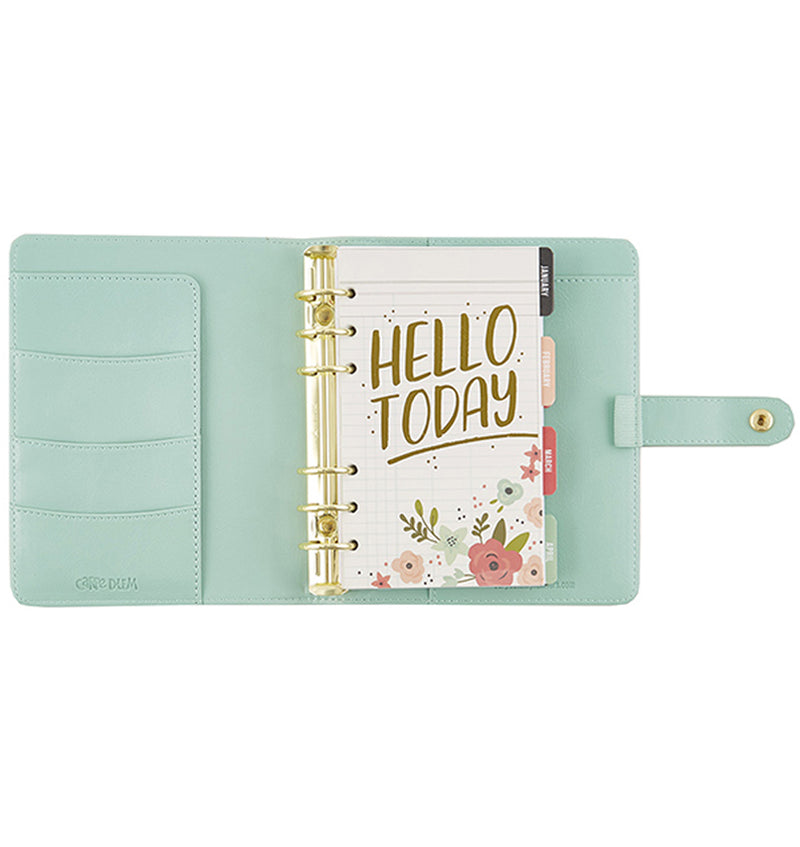 Simple Stories Robin Egg Mint Personal Planner Inner Compartment with Side Pocket Sleeve and Gold Ring Binder