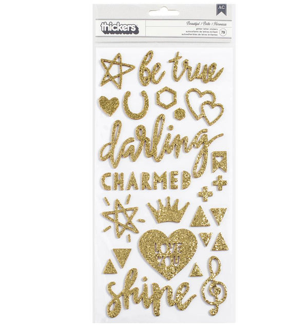 American Crafts Shine Beautiful Gold Glitter Thickers Front