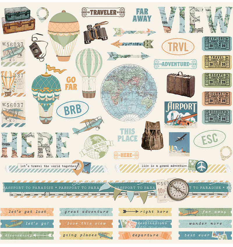 Simple Stories Simple Vintage Traveller 12x12 Collection Kit, 12x12 Element Sticker Sheet