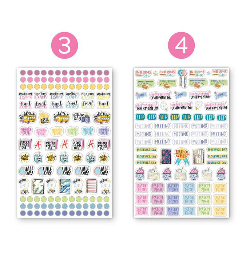 Bloom's Teacher Planner Sticker Sheet 6pcs Pack, 3rd and 4th designs