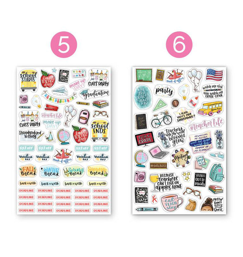 Bloom's Teacher Planner Sticker Sheet 6pcs Pack, 5th and 6th designs
