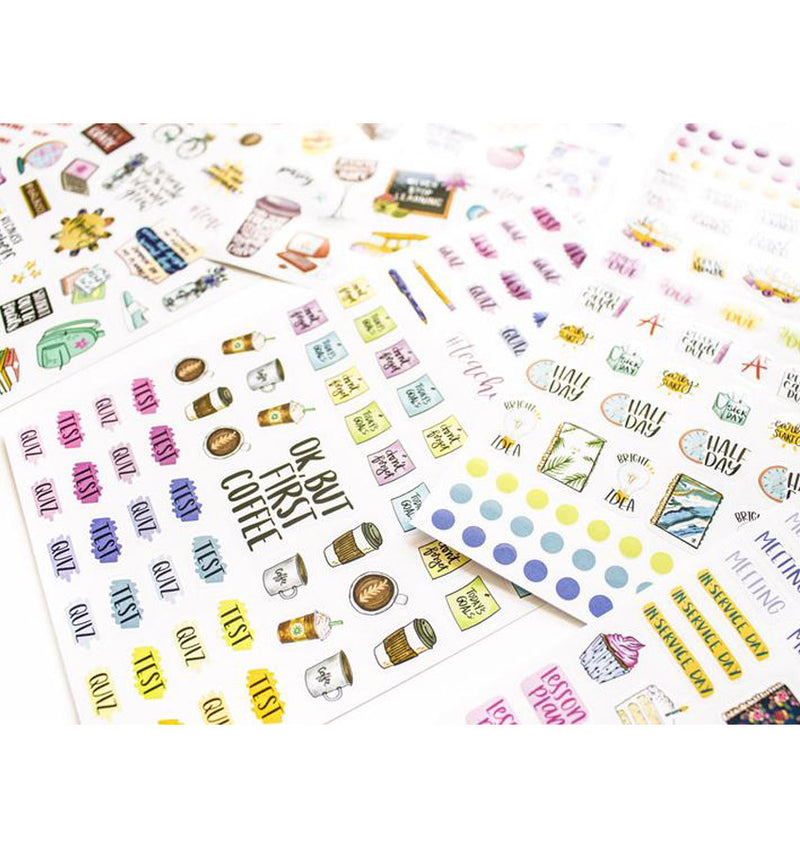 Bloom's Teacher Planner Sticker Sheet 6pcs Pack Close Up