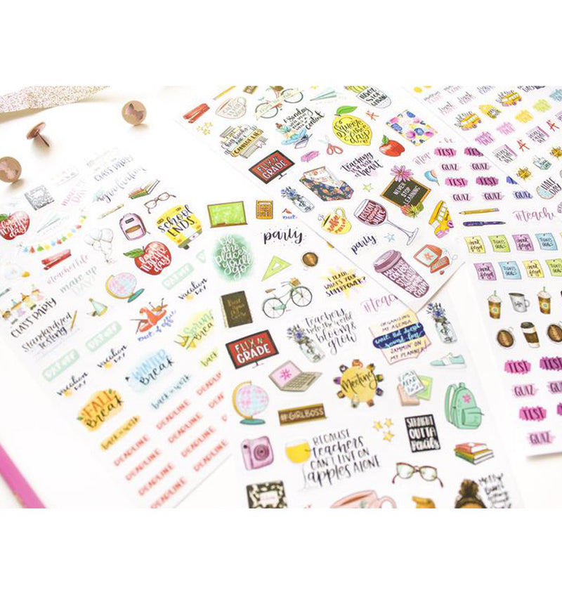 Bloom's Teacher Planner Sticker Sheet 6pcs Pack Close Up 2