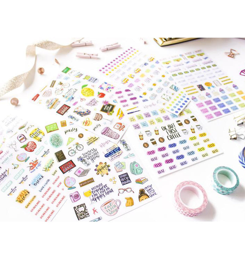 Bloom's Teacher Planner Sticker Sheet 6pcs Pack Close Up 3