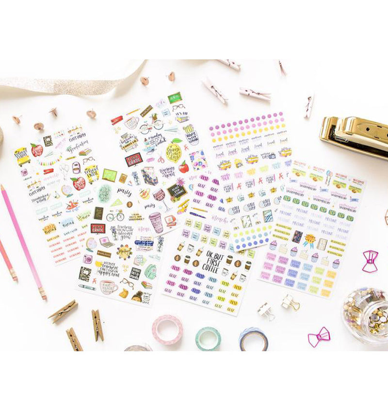 Bloom's Teacher Planner Sticker Sheet 6pcs Pack Designs