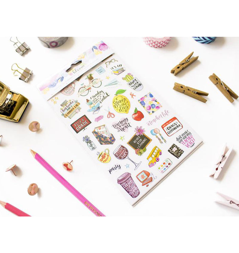 Bloom's Teacher Planner Sticker Sheet 6pcs Pack Packaging