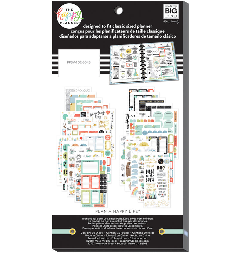 The Happy Planner Baby Boy Planner Sticker Pack (712pcs) Back