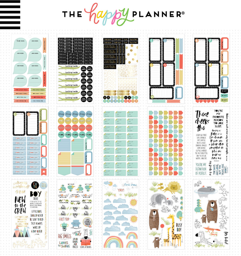 The Happy Planner Baby Boy Planner Sticker Pack (712pcs) Sheet Designs Two