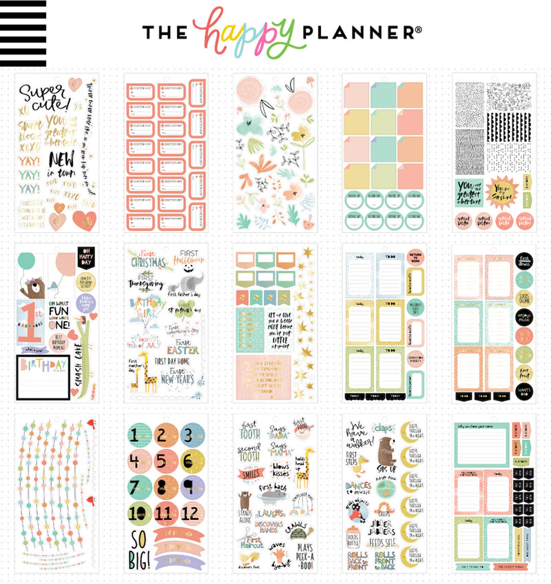 The Happy Planner Baby Girl Planner Sticker Pack (762pcs) Designs One