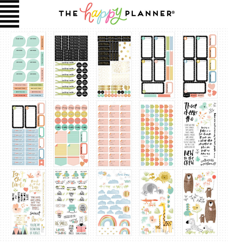 The Happy Planner Baby Girl Planner Sticker Pack (762pcs) Designs Two