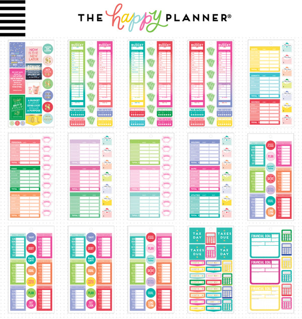 The Happy Planner Budget Fill In Planner Sticker Pack (682pcs) Designs One