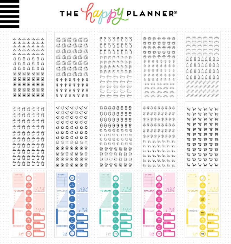 The Happy Planner Household Planner Sticker Pack (1372pcs) Designs One