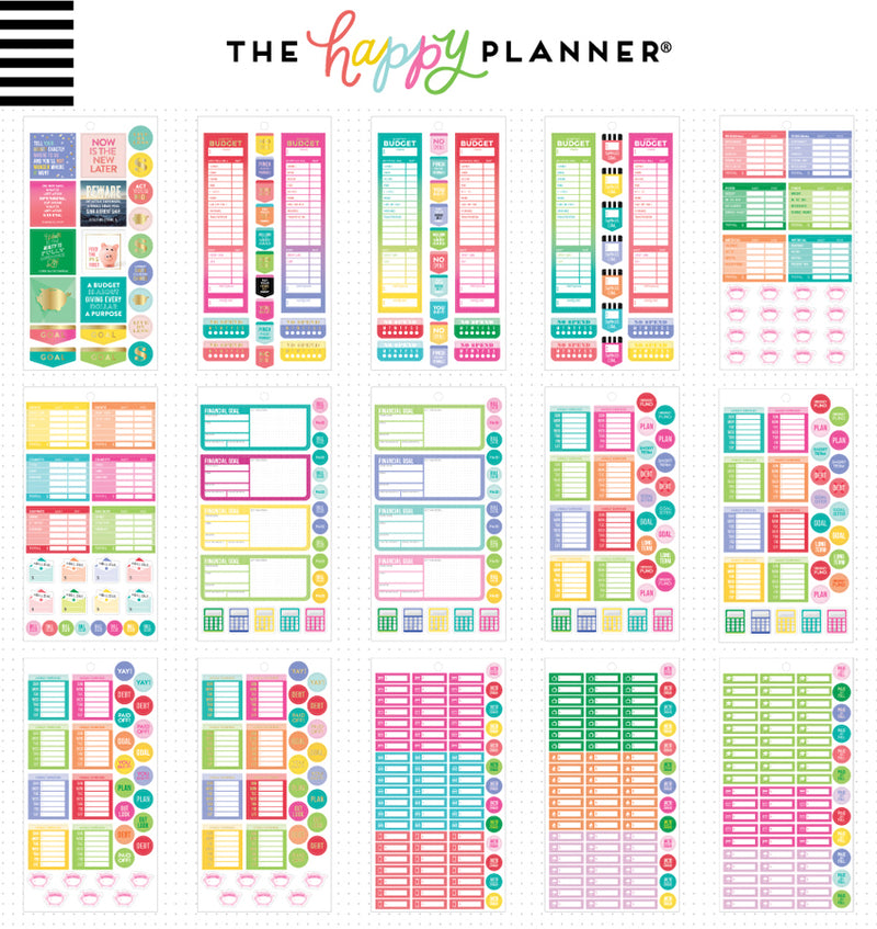 The Happy Planner Mini Budget Planner Sticker Pack (1331pcs) Designs One