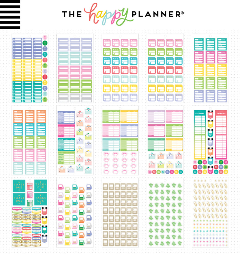 The Happy Planner Mini Budget Planner Sticker Pack (1331pcs) Designs Two