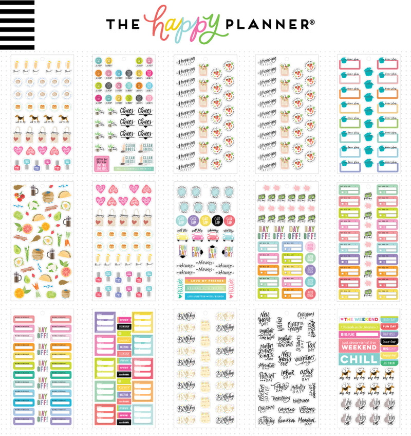 The Happy Planner Essential Planning Planner Sticker Pack (1009pcs) Designs One