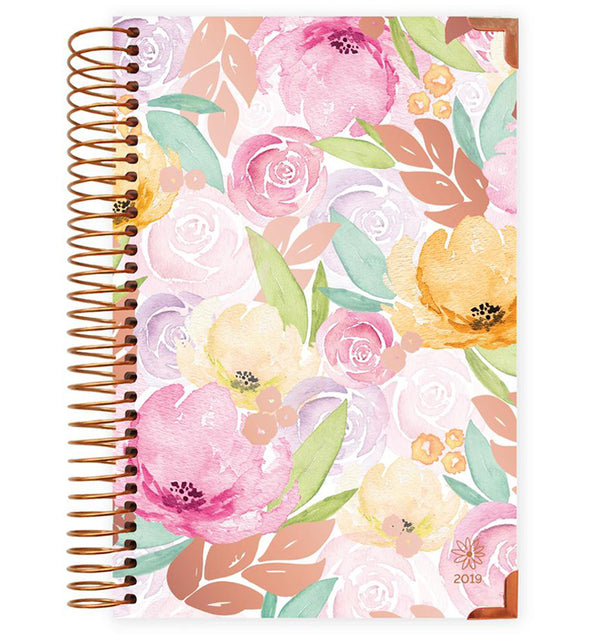 Watercolor Floral Hard Cover 2019 Daily Planner