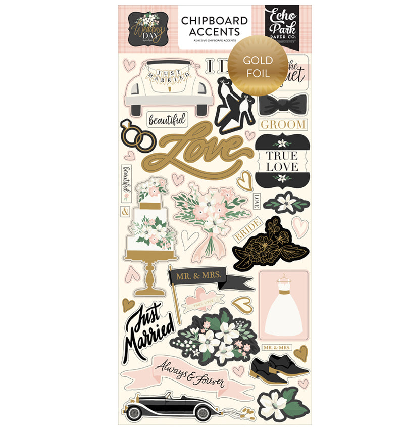 Wedding Day Gold Foil Chipboard Accents Stickers