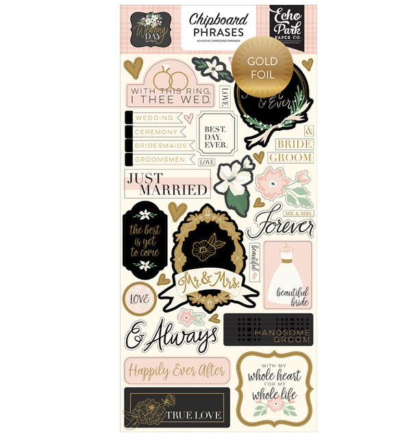 Echo Park Wedding Day Gold Foil Chipboard Phrases Stickers