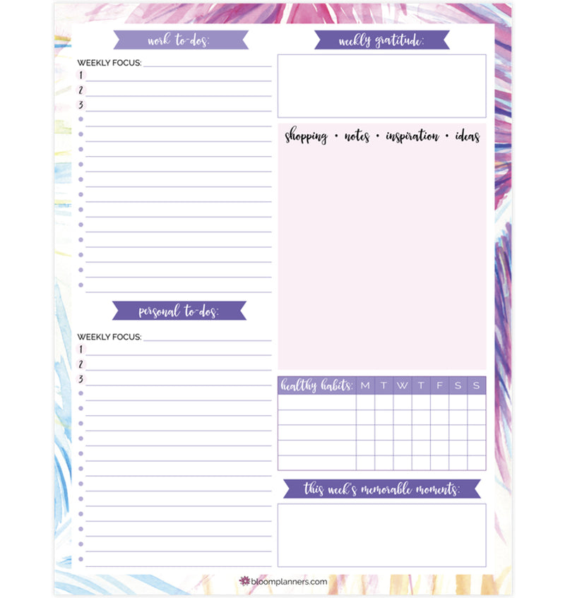 Bloom's Peacock Weekly Planning Pad (60 sheets) Back