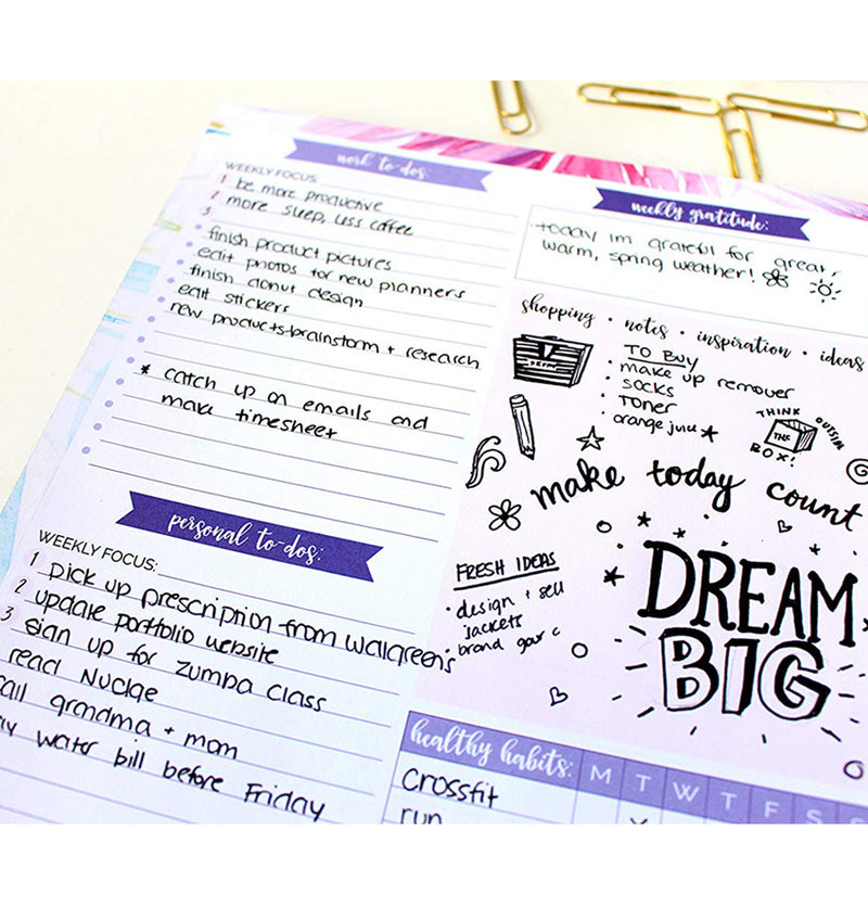 Bloom's Peacock Double-Sided Weekly Planning Pad (60 sheets) Zoom Up Mock