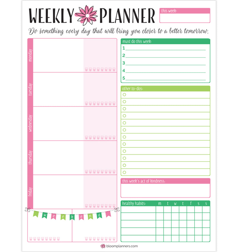 "Bloom's Weekly Planning System Pad, 8.5"" x 11"""
