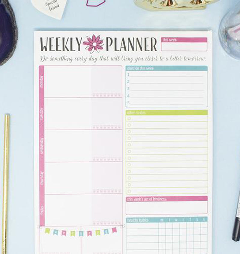 "Bloom's Weekly Planning System Pad, 8.5"" x 11"" Layout"