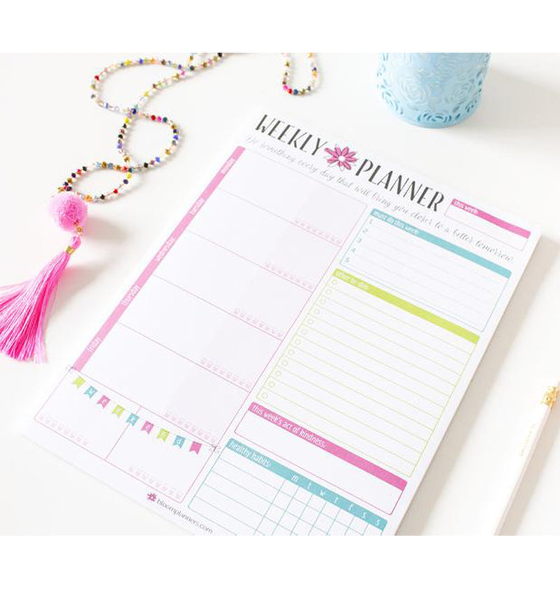 "Bloom's Weekly Planning System Pad, 8.5"" x 11"" with Tassel"