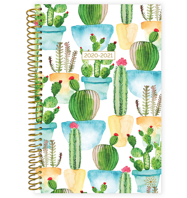 White Cacti 2020-2021 Soft Cover Daily Planner